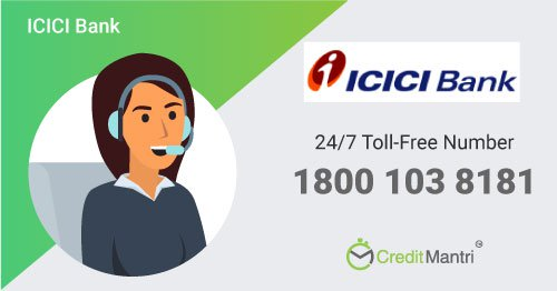 icici bank credit card department contact number