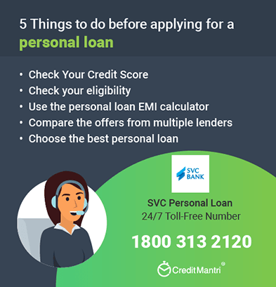 SVC Bank Personal Loan Customer Care Number: 24x7